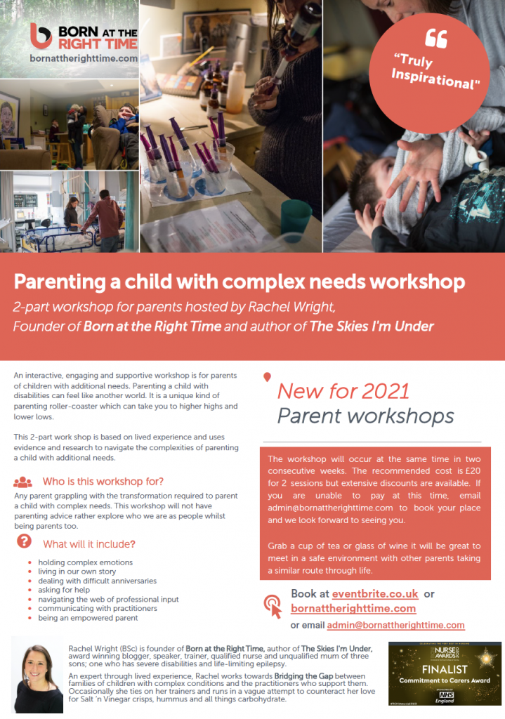 Flyer advertising Born at the Right Time workshops showing images of a parent helping dress, care at hospital bed and drawing up syringes.